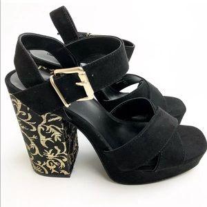 NEW Parker & Sky Platform Heel Sandal Black Gold